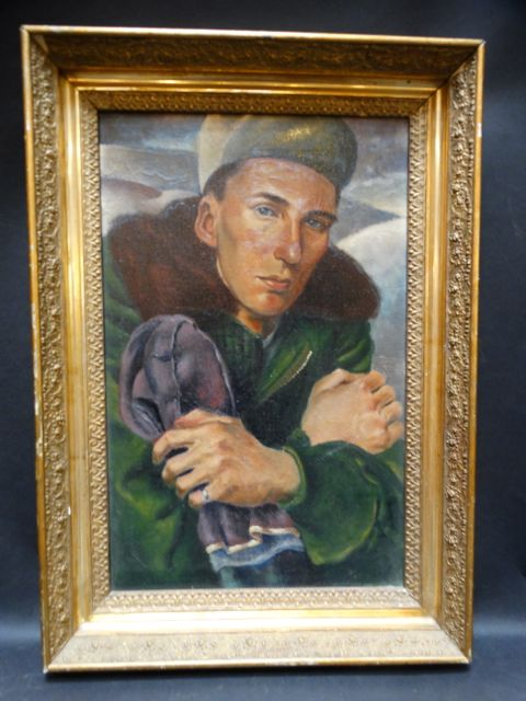 Portrait of a Young Man in Cold Weather Military Gear c 1946-50