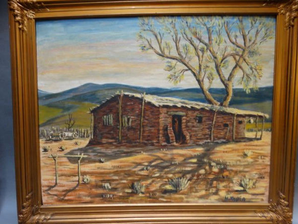"""Stage Station – Villa Citos"" (Vallecito) by H.Tapia Oil on Board"