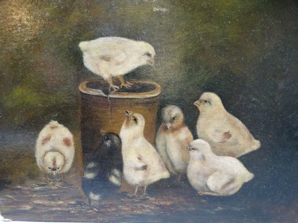 19th Century Baby Chicks in Barnyard Oil on Board P1250