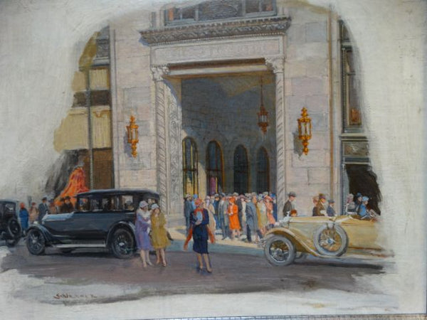Simon Werner Cars In Front of One Park Avenue 1920s Magazine Illustration Original Art