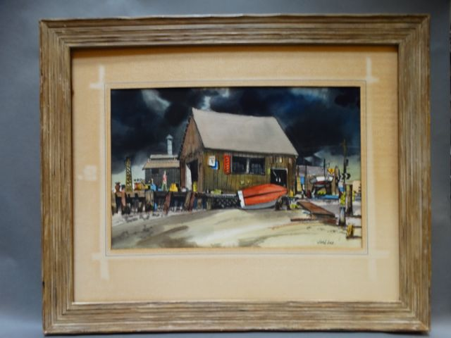 Jake Lee Original Watercolor Boatyard at a Railroad Crossing
