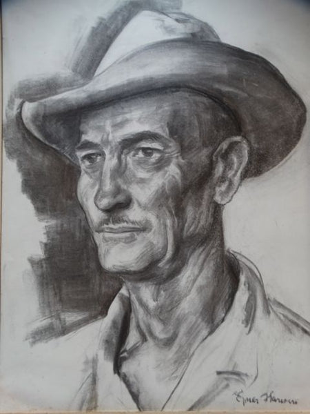 Ejnar Hansen Charcoal Portrait of a Farmer