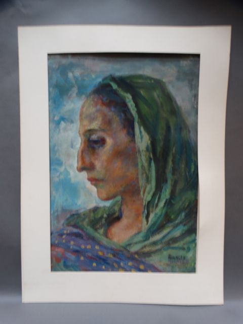 Ejnar Hansen Watercolor Woman with Aquiline Profile