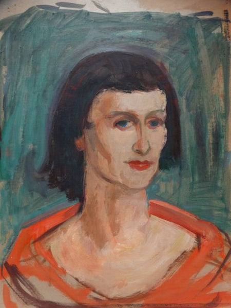 Ejnar Hansen Oil On Board Woman with Short Bangs 1955