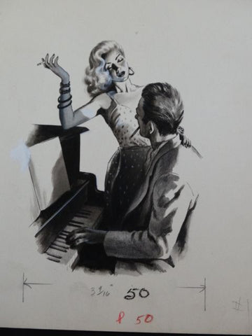 """Tickling The Ivories"" Men's Magazine Original Illustration Art"
