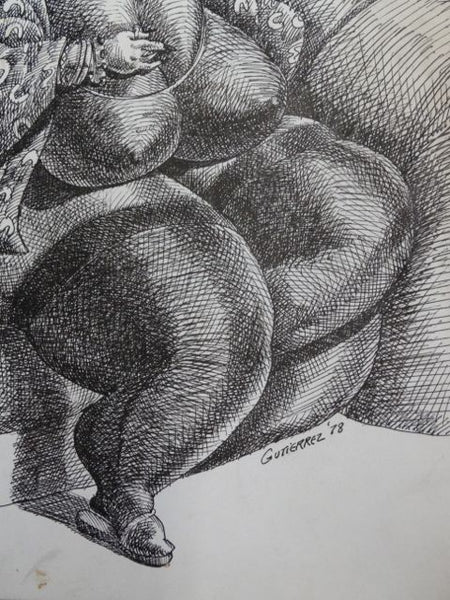Frank Gutierrez Lady in her Scanties On her Settee Pen and Ink Drawing
