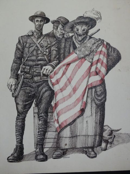Frank Gutierrez American Doughboy and Rat-In-Boots Lady with Flag Drawing