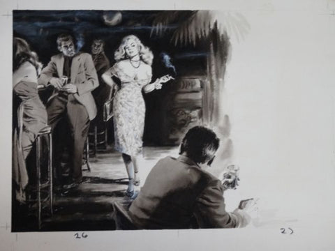 Tiki Bar Bad Girl Men's Magazine Original Illustration Art c 1959