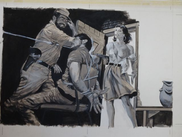 """Mission in Cuba"" Men's Magazine Original Illustration Art"