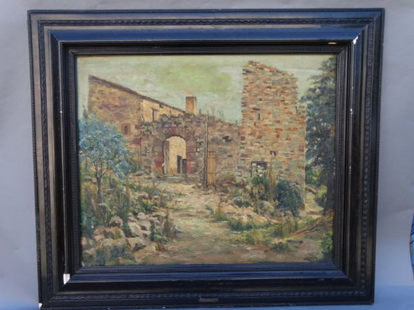 Mediterranean Villa Oil on Canvas c 1920s