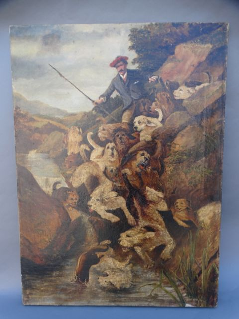 19th Century English Rare Otter Hunting Scene Oil on Canvas after a print by John Charlton