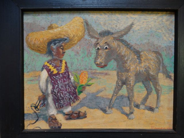A Boy and His Burro Oil on Board