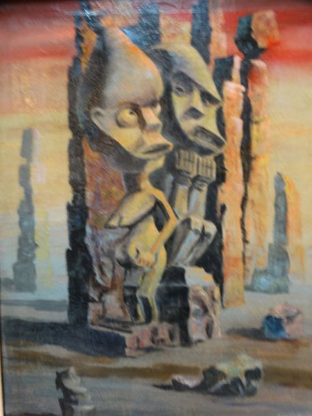 Mid Century Modern Ethnographic Tiki Gods Oil on Canvas by Auvi Bunz