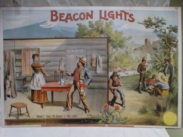 BEACON LIGHTS Original Silent movie poster Circa 1910 Banditos