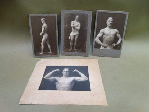 Male Body Builder Photographs circa 1897 Collection of 4 Black and white cabinet cards