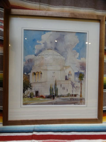 Robert F Boyle Wilshire Blvd Temple 1933 Regional Watercolor