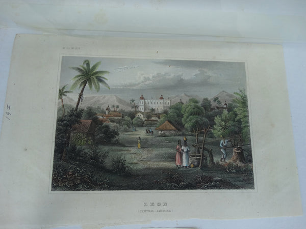 "Engraving, Hand Painted, ""LEON"" (Central America)"