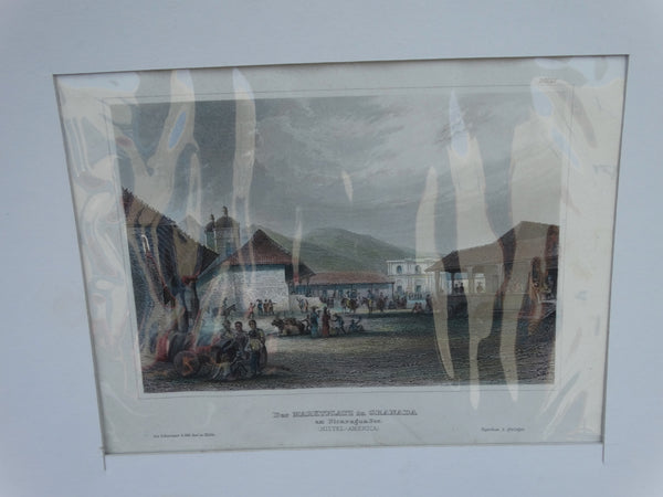 "Engraving, Hand Painted ""Der Marketplatz in Granada"", Meyer 1848-1852"