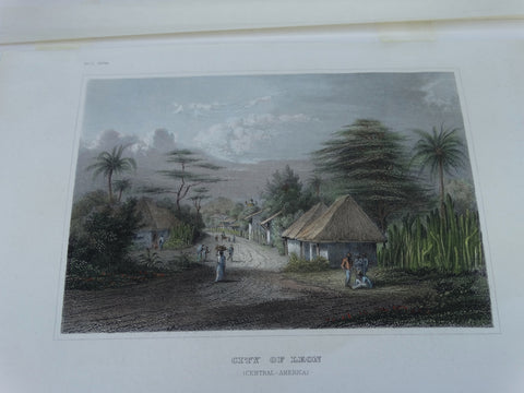 "Engraving, Hand Painted ""City of Leon"", by Meyer 1848-1852"