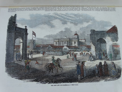 "Engraving, Hand Painted ""The New City of Guatemala – The Plaza"", 1856"