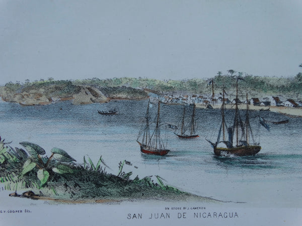 "Engraving, Hand Painted ""San Juan de Nicaragua"" by Letts 1849-1850"
