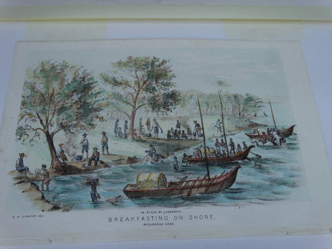 "Engraving, Hand Painted ""Breakfasting on Shore, Nicaragua Lake"" by J. Cameron"