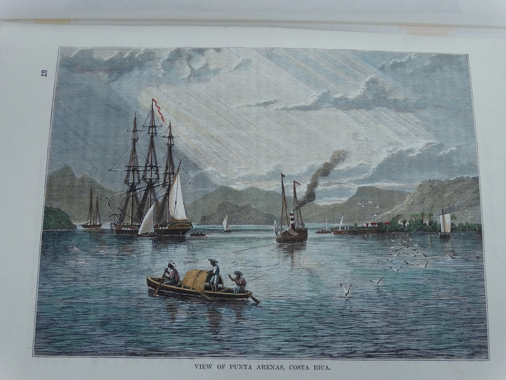 "Wood Engraving, Hand Painted ""View of Punta Arenas, Costa Rica"" circa 1880."