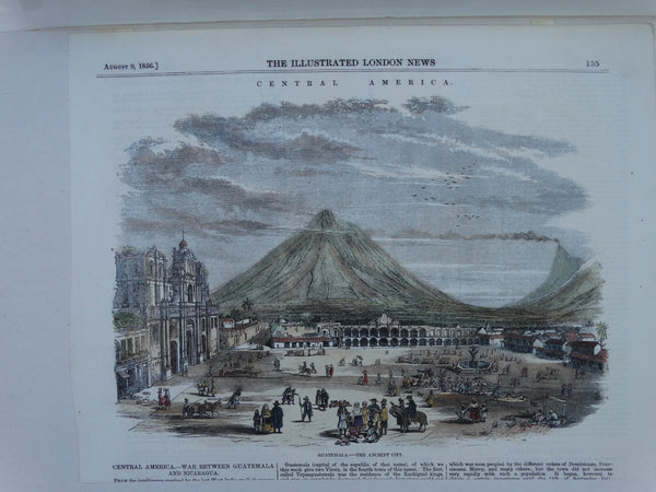 "Engraving, Hand Painted ""Guatemala – The Ancient City"". P1526"