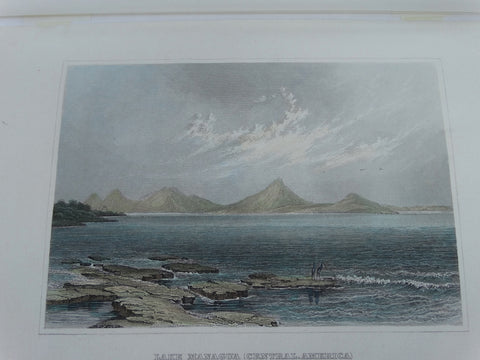 "Engraving, Hand Painted, ""Lake Managua (Central America)"", 1848-1852."