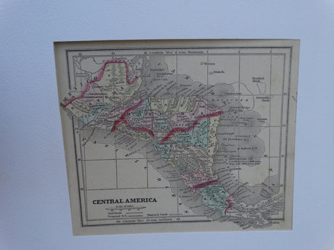 "Engraving, Hand Painted ""Map of Central America"", 1857"