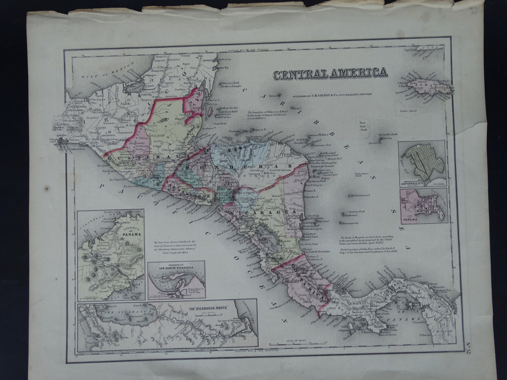Hand Colored Map of Central America, 1857