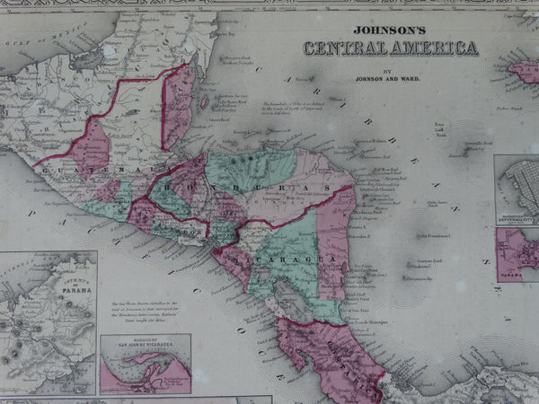 "Hand Colored Map, ""Johnson's Central America"""