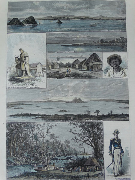 "Harper's Weekly Page, ""Scenes on the Isthmus of Panama and Lake Nicaragua"", 1879."