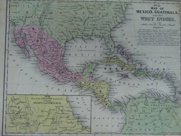 "Engraving, Hand Painted ""Map of Mexico, Guatemala and West Indies"", 1849"