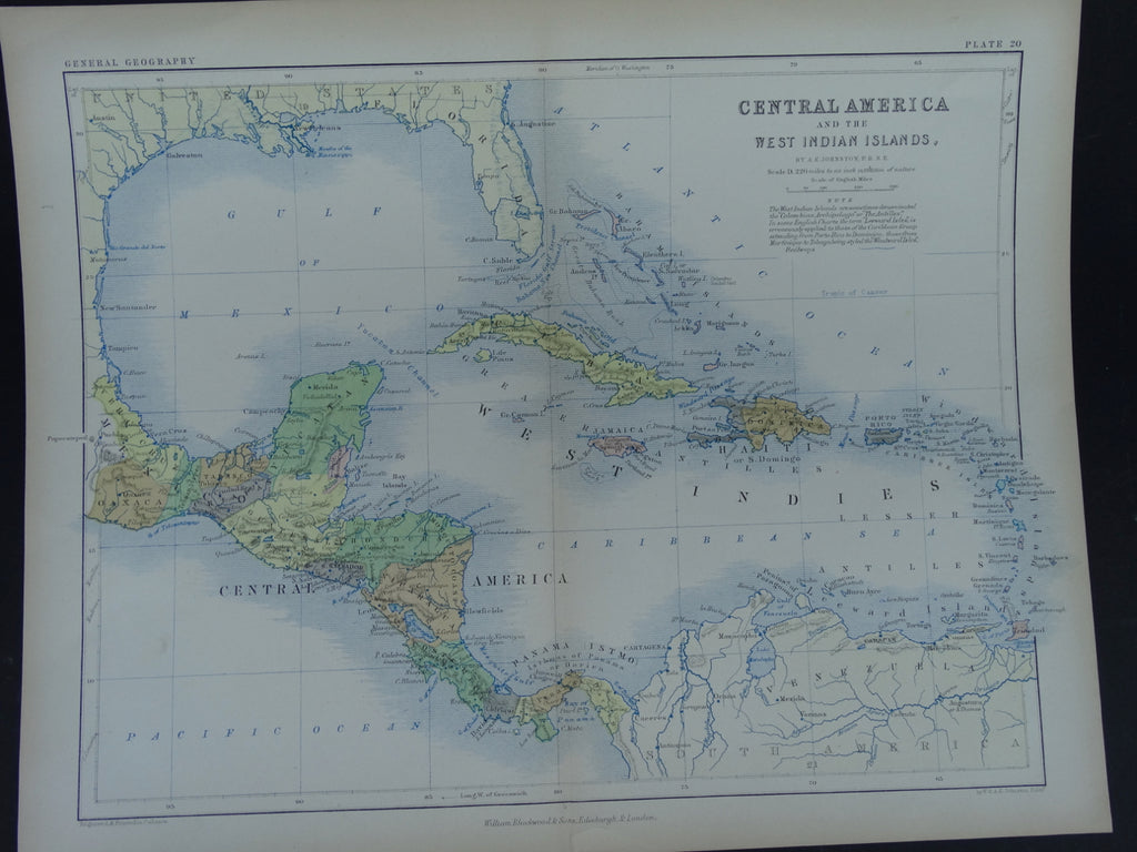 "Engraving, ""Map of Central America and the West Indies"", 1861."