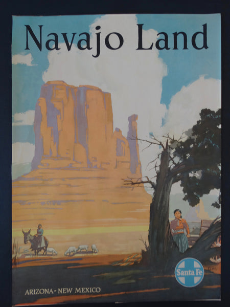 Santa Fe Railroad Navajo Land Original Poster