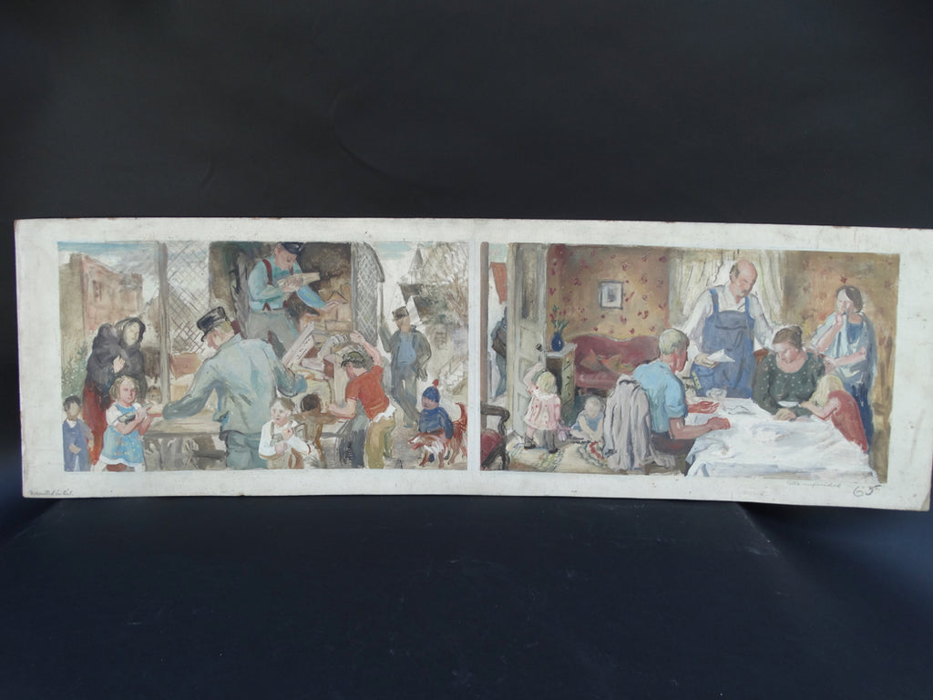 Ejnar Hansen: Dinner Unfinished, Bad News Mural Diptych Study
