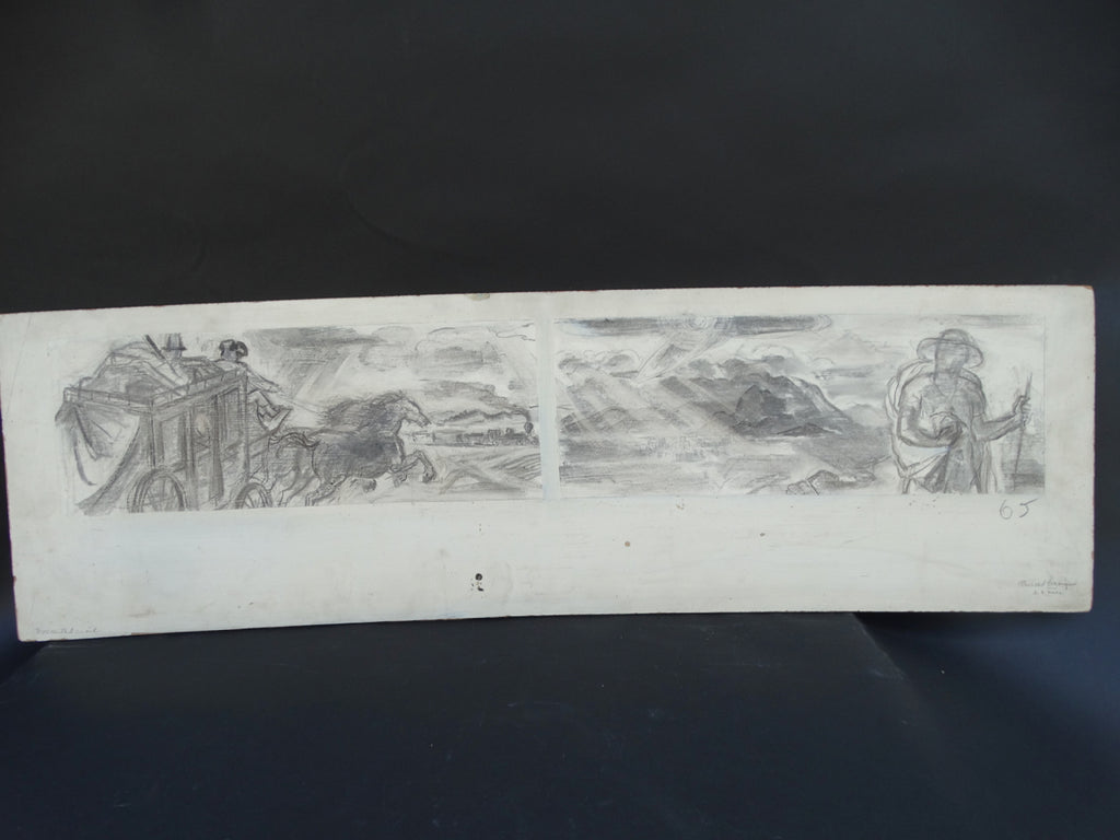 Ejnar Hansen: Pencil Sketch Revised The Journey West: California Mural Study.