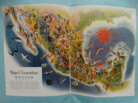 Miguel Covarrubias Fold Out Map of Mexico