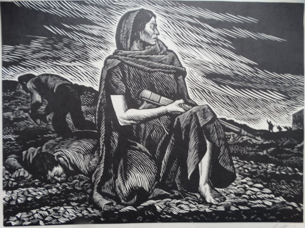 "Alberto Beltran ""Manuela Sanchez"" Women for the Revolution, ca. 1946, linocut, printed at Taller de Gráfica Popular"