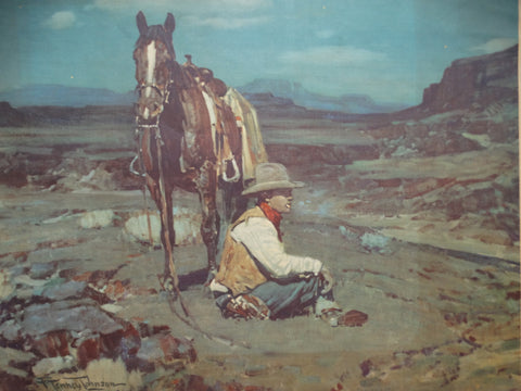 "Frank Tenney Johnson ""Guardian of the Herd"" 1936 lithograph P2134"
