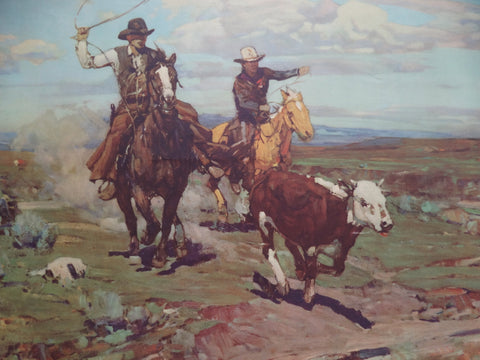 "Frank Tenney Johnson ""Roping the Mavericks"" 1936 lithograph P2135"