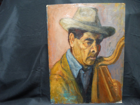 Ejnar Hansen Man In Hat with a Harp