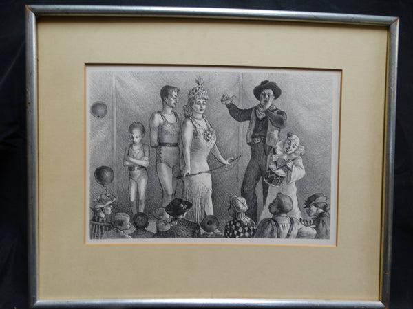 """Circus People"" lithograph"