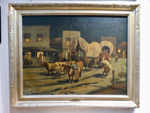 Geoffrey Holt - Cowboy Town at Night Bekins Calendar Art 1948
