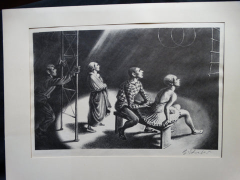 "Georges Schreiber: ""Without A Net"" lithograph"