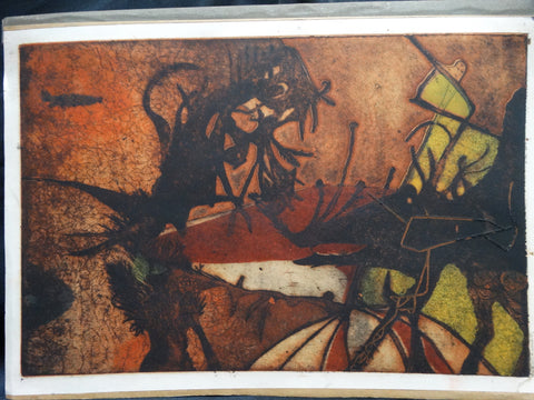 Mid-Century Modern Semi-Abstract Autumnal Lithograph