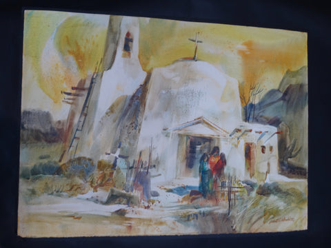 Robert E. Wood: Taos watercolor