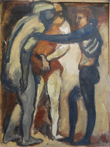 John Bernhardt Figure Group Rare Early Work 1946