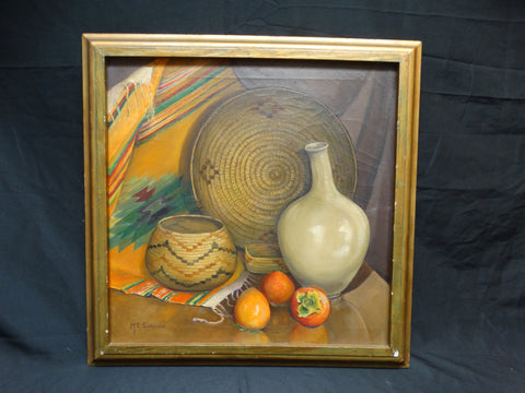 Mabel Sumerlin: Mexican Still Life Oil on Board